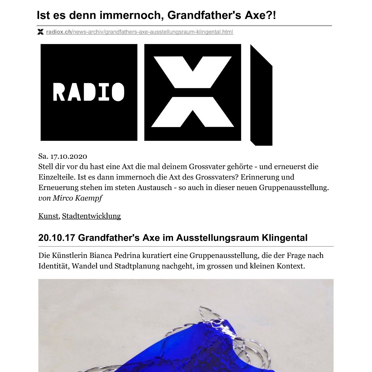 Grandfather's Axe – radiox.ch